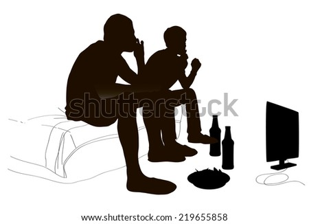 Men drinking bear, vector illustration - stock vector