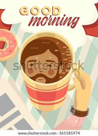 men drinking coffee - stock vector