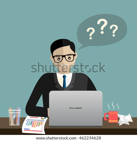 Men employees and a notebook personal computer to worry about.  Vector flat design illustration.