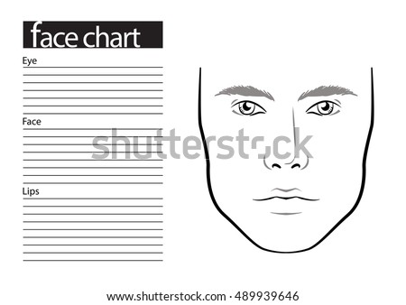Men Face Chart Makeup Artist Blank Stock Vector (Royalty Free ...