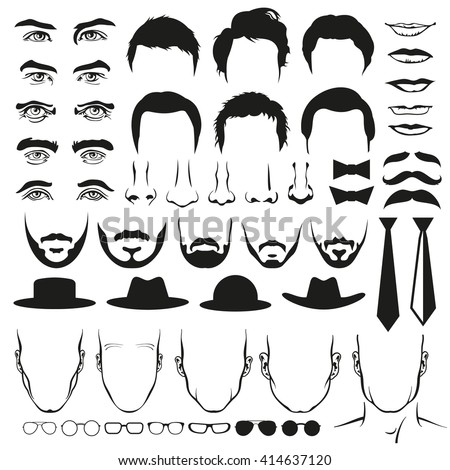 Men face parts. Eyes and nose, mustaches and glasses, hats and lips and hairstyle, ties and beards. Man hair, head, fashion portrait, eyebrow. Vector illustration - stock vector