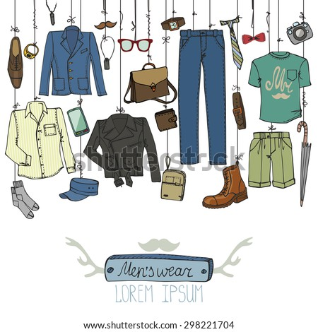 Men fashion wear.Doodle modern clothing hanging on rope.Father day,casual  hipster style.Isolated elements,icons.Hand drawn Vector Illustration,sketch.Man apparel - stock vector