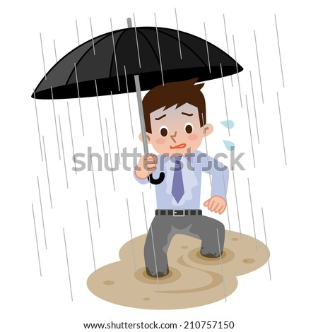 Men go home in the heavy rain - stock vector