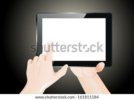 Men hands point on blank tablet pc.