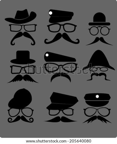 men, hats and sunglasses - stock vector