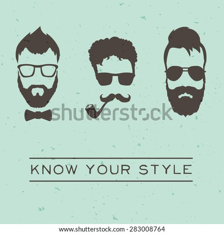 Men hipsters styles concept with vintage design. Vector illustration - stock vector