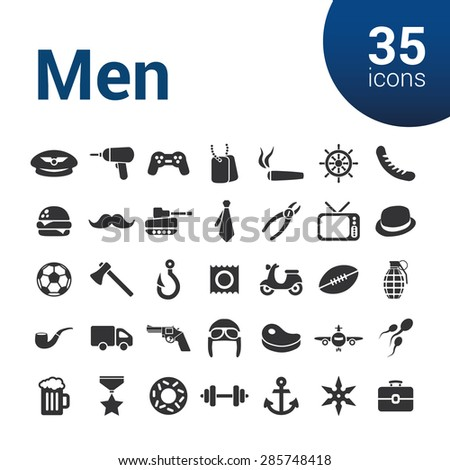 men icons - stock vector