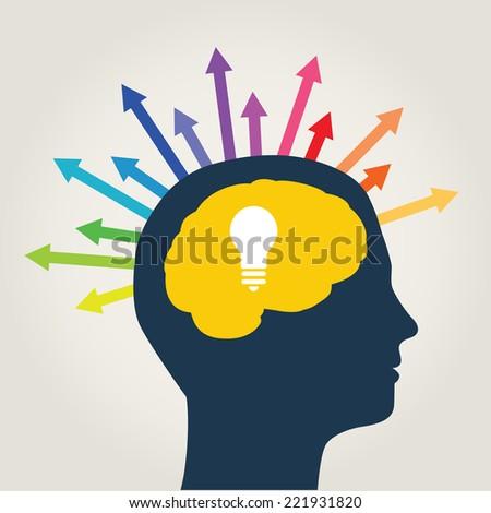men idea options, color arrows - stock vector