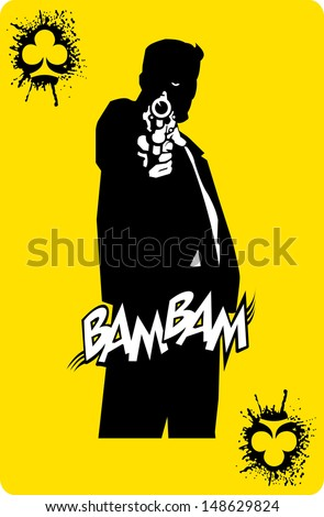 men in black suits with a weapon, vector, illustration - stock vector