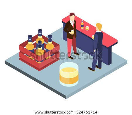Men in suits at the bar sterilizing Isometric 3D vector illustration. The end of the week, stay after work. Corporate party - stock vector