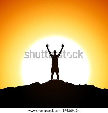 Men is standing on top of the cliff. Success theme - stock vector