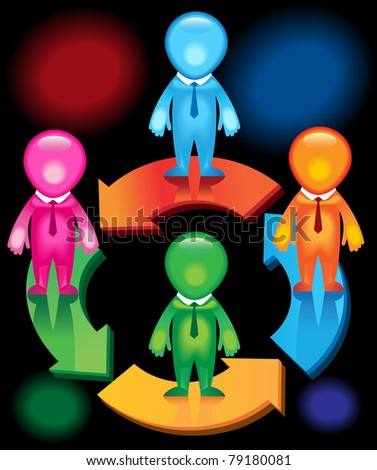 Men joining together to form one team in one direction. This format can be blown up to any size without loss of quality. - stock vector
