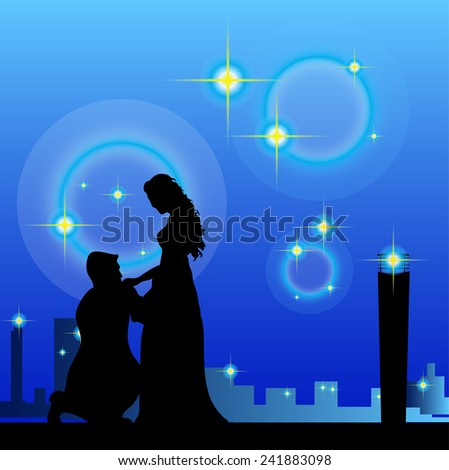 Men kissing hand lady in city night. - stock vector