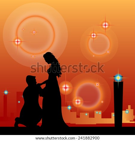 men kissing hand lady vector on orange background. - stock vector