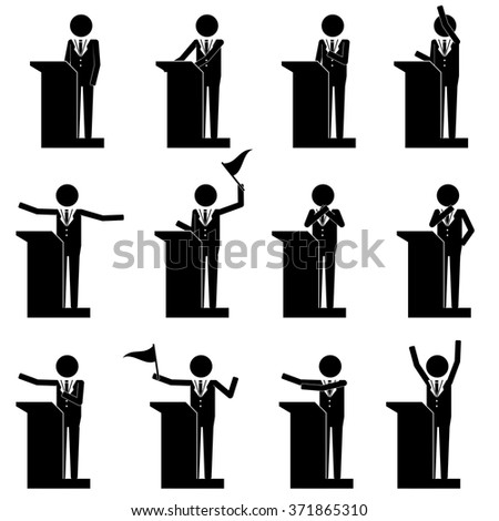 men male talk on stage have speech info graphic icon vector sign symbol pictogram - stock vector