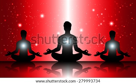 men meditate, yoga. on red sky background. star - stock vector