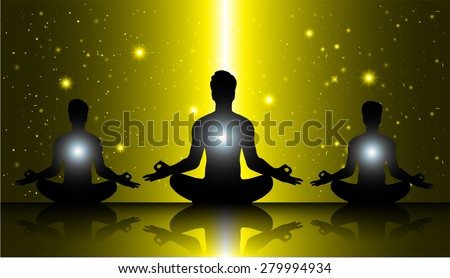 men meditate, yoga. on yellow sky background. star - stock vector
