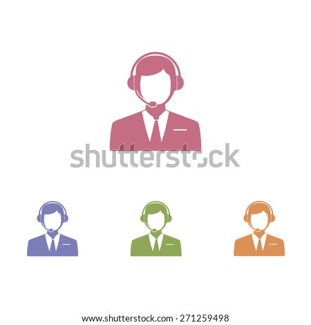 Men Operator in headset - Vector icon - stock vector