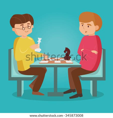 Men playing chess. Vector isolated illustration. Cartoon character.