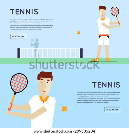 Men playing tennis.Sport competitions. 2 banners. Flat design vector illustration. - stock vector
