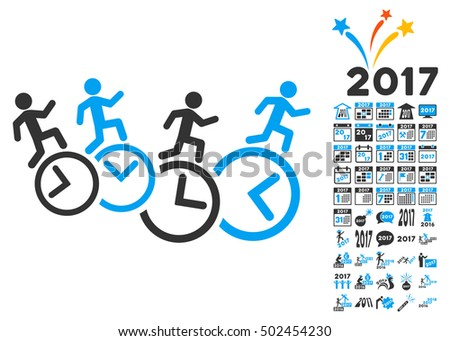 Men Running Over Clocks icon with bonus 2017 new year clip art. Vector illustration style is flat iconic symbols,modern colors, rounded edges.