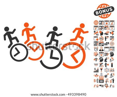 Men Running Over Clocks pictograph with bonus calendar and time management icon set. Vector illustration style is flat iconic bicolor symbols, orange and gray colors, white background.