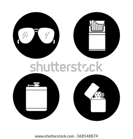 Men's accessories black icons set. Alcohol hip flask, open cigarette pack, sunglasses and flip lighter symbols. Everyday carry items. White silhouettes illustrations. Vector logo concepts - stock vector