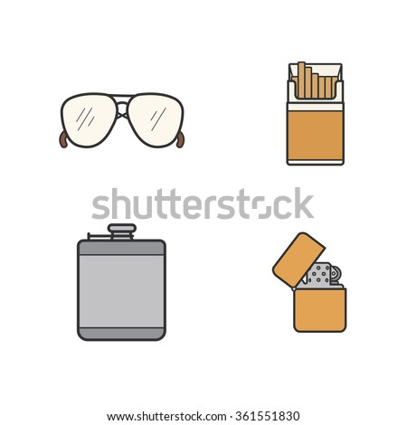 Men's accessories color icons set. Alcohol hip flask, open cigarette pack, sunglasses and flip lighter symbols. Everyday carry men items. Logo concepts. Vector isolated illustrations - stock vector