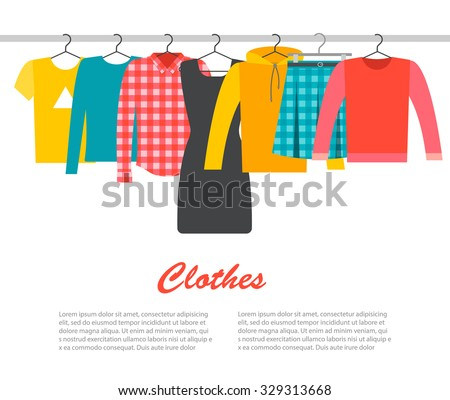 Men's and woman's clothes on hangers, vector illustration  - stock vector