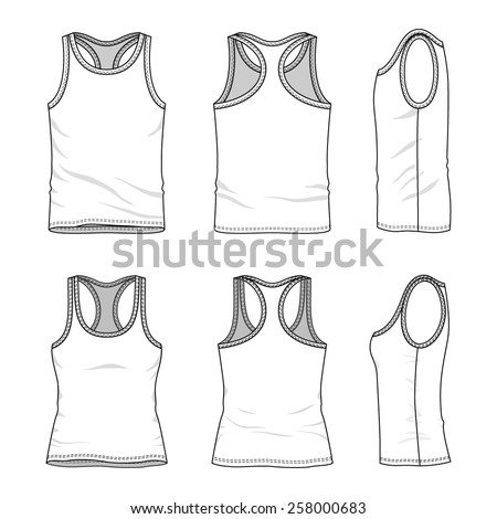 Tank top template stock images royalty free images vectors mens and womens clothing set in front back and side views blank templates of pronofoot35fo Image collections