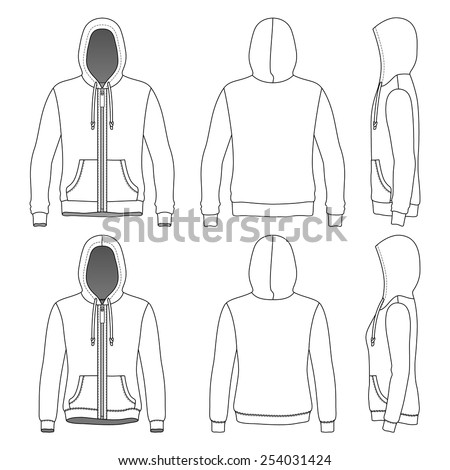 Men's and Women's hoodies with zipper in front, back and side views. Vector illustration. Isolated on white. Blank clothing templates. Fashion set.  - stock vector