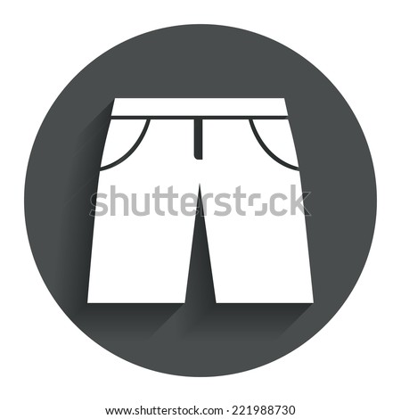 Men's Bermuda shorts sign icon. Clothing symbol. Circle flat button with shadow. Modern UI website navigation. Vector