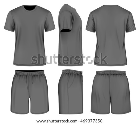 Men's black short sleeve t-shirt and sport shorts. Vector illustration. Fully editable handmade mesh.
