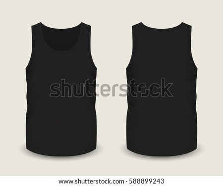 Sleeveless shirt stock images royalty free images vectors mens black sleeveless tank in front and back views vector illustration with realistic male shirt pronofoot35fo Image collections
