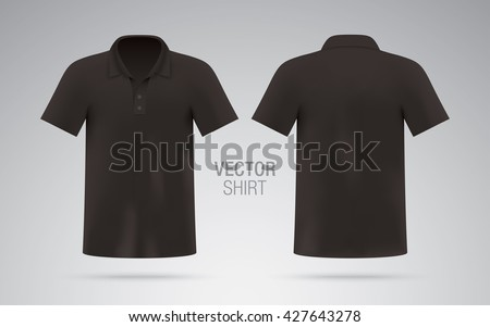 Men's black vector polo shirt template. Realistic mockup. - stock vector