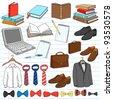 Men's Business Work Gentleman Doodles Notebook Doodle Design Elements Set on Lined Sketchbook Paper Background- Vector Illustration - stock vector