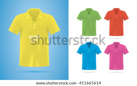 Men's classic shirt templates. Colorful vector polo shirts isolated on background. Realistic shirt mockup. - stock vector