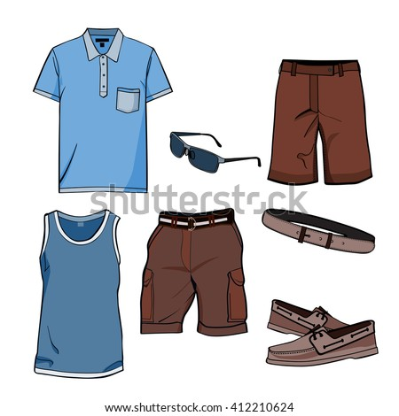 Men's clothes and summer accessories. T-shirt,Polo,shorts,sun glasses,casual shoes and belt.