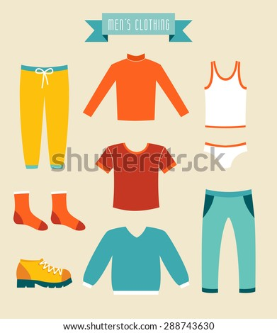 Men's clothes vector set icons. - stock vector