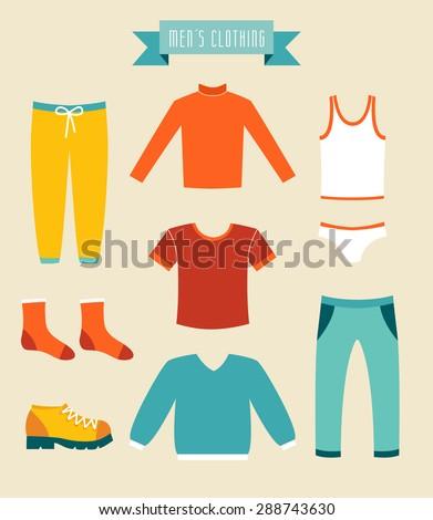 Men's clothes vector set icons. - stock vector