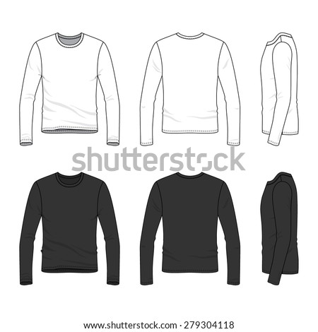 Men's clothing set in white and black colors. Front, back and side views of blank tee. Casual style. Vector illustration for your fashion design.  - stock vector