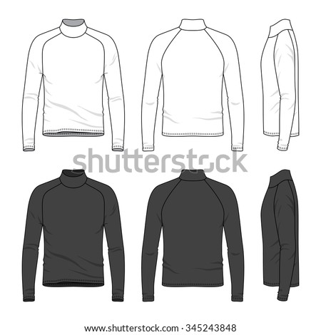 Men's clothing set in white and black colors. Front, back and side views of blank tee with raglan sleeve. Casual style. Vector illustration for your fashion design.  - stock vector