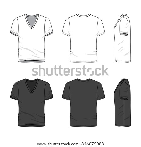 Men's clothing set in white and black colors. Front, back and side views of blank v-neck t-shirt. Casual style. Vector templates for your fashion design. Isolated on white. - stock vector