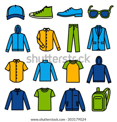 Men's Color Clothing icons on white background - stock vector