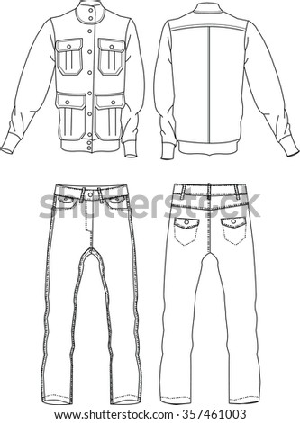 Men's fashion jacket and jeans, technical illustration