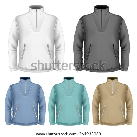 Men's fleece sweater. Vector illustration. Fully editable handmade mesh.