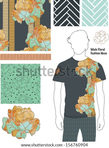 Men's Floral Fashion Patterns. Use as fills, digital paper, or print off onto fabric to create unique items. - stock vector