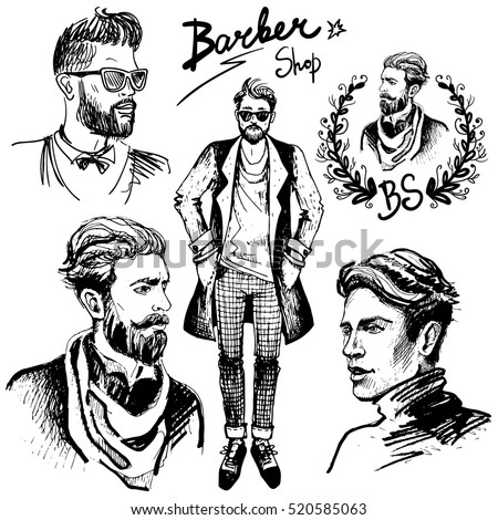 Men's haircuts and styling. Vector set in hand drawn style with stylish man. Barber Shop. Man in sunglasses. Man in an overcoat.