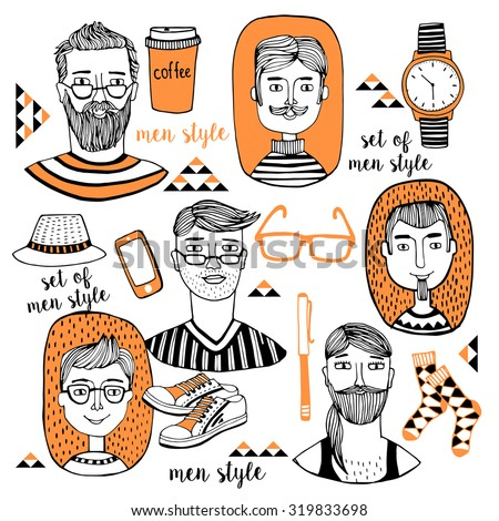Men's hairstyle, Fashion men vector illustration, backdrop with  fashionable men's accessories. Vector template for design. - stock vector