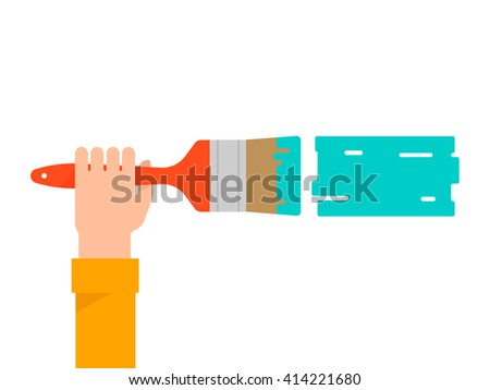 Men's hand holds a paint brush with a green color. Interior design, repair concept. Isolated vector illustration flat design. Horizontal banner - stock vector